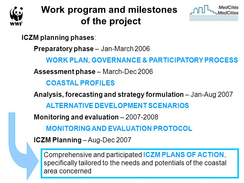 Work program and milestones of the project ICZM planning phases: Preparatory phase – Jan-March 2006 WORK PLAN, GOVERNANCE & PARTICIPATORY PROCESS Assessment phase – March-Dec 2006 COASTAL PROFILES Analysis, forecasting and strategy formulation – Jan-Aug 2007 ALTERNATIVE DEVELOPMENT SCENARIOS Monitoring and evaluation – 2007-2008 MONITORING AND EVALUATION PROTOCOL ICZM Planning – Aug-Dec 2007 Comprehensive and participated ICZM PLANS OF ACTION, specifically tailored to the needs and potentials of the coastal area concerned