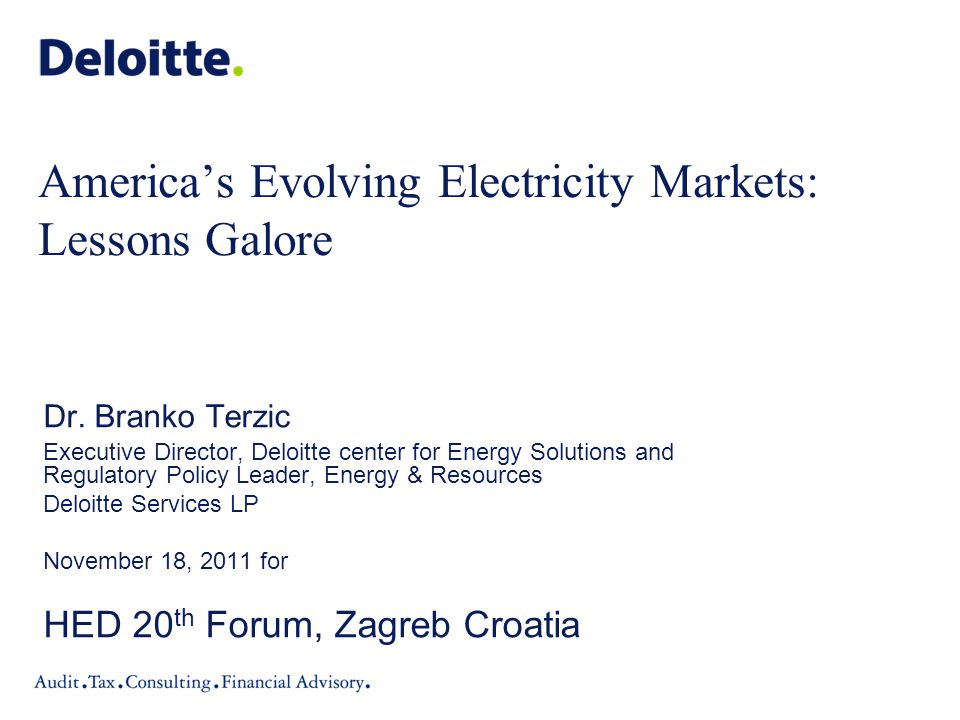 America's Evolving Electricity Markets: Lessons Galore Dr.