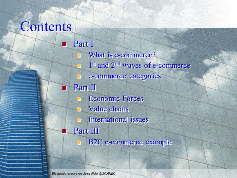 Contents Part I What is e-commerce.