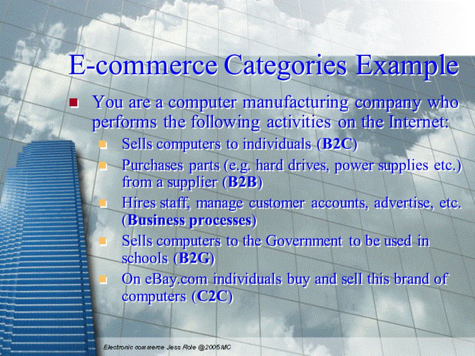E-commerce Categories Example You are a computer manufacturing company who performs the following activities on the Internet: Sells computers to individuals (B2C) Purchases parts (e.g.