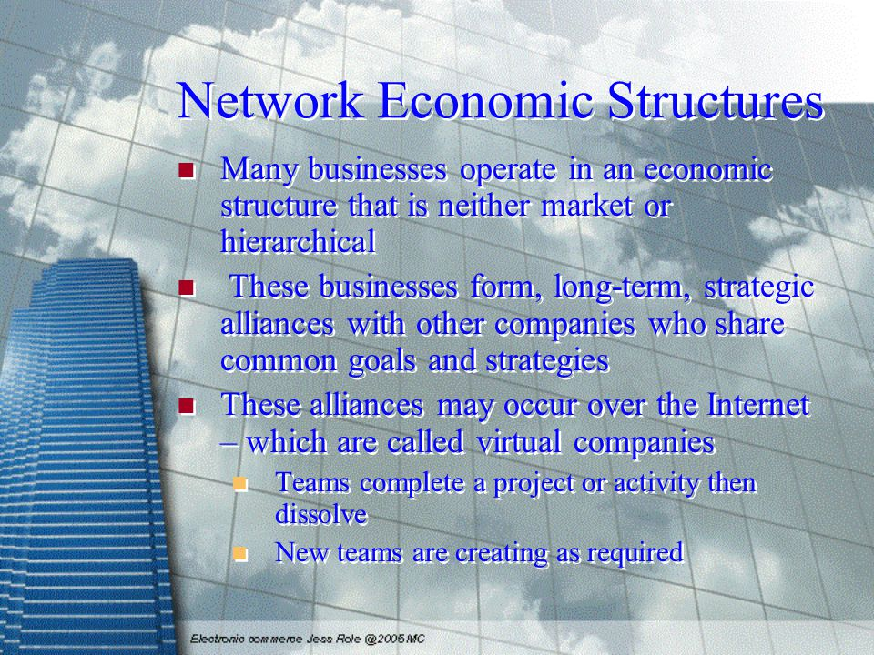 Network Economic Structures Many businesses operate in an economic structure that is neither market or hierarchical These businesses form, long-term,