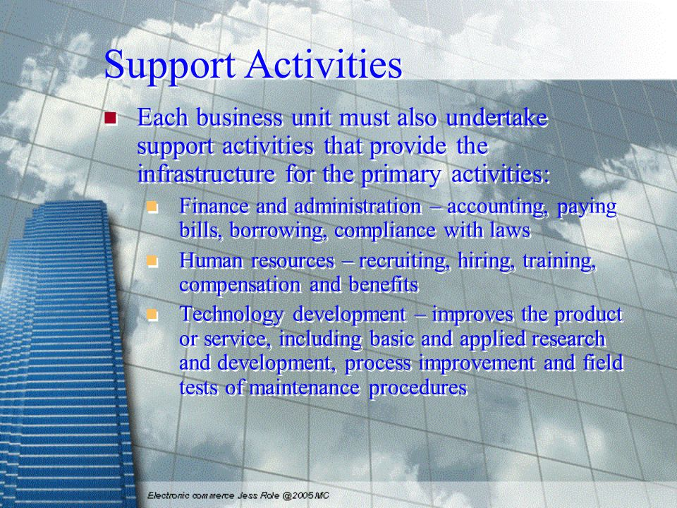 Support Activities Each business unit must also undertake support activities that provide the infrastructure for the primary activities: Finance and administration – accounting, paying bills, borrowing, compliance with laws Human resources – recruiting, hiring, training, compensation and benefits Technology development – improves the product or service, including basic and applied research and development, process improvement and field tests of maintenance procedures Each business unit must also undertake support activities that provide the infrastructure for the primary activities: Finance and administration – accounting, paying bills, borrowing, compliance with laws Human resources – recruiting, hiring, training, compensation and benefits Technology development – improves the product or service, including basic and applied research and development, process improvement and field tests of maintenance procedures