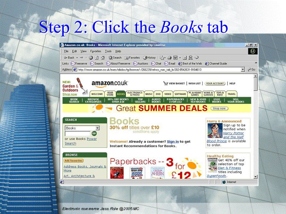 Step 2: Click the Books tab