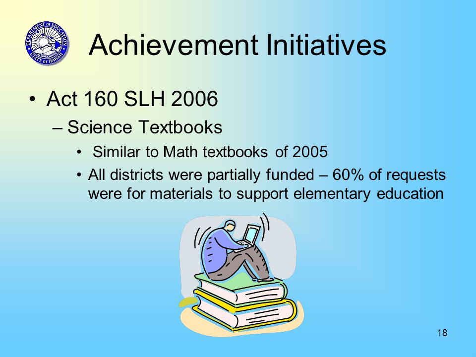 18 Achievement Initiatives Act 160 SLH 2006 –Science Textbooks Similar to Math textbooks of 2005 All districts were partially funded – 60% of requests were for materials to support elementary education