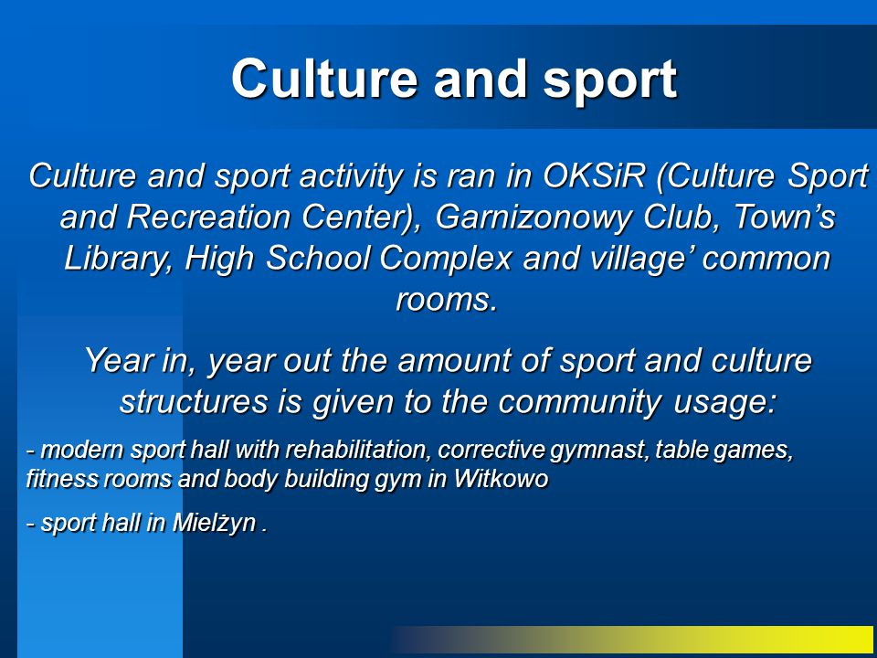 Culture and sport activity is ran in OKSiR (Culture Sport and Recreation Center), Garnizonowy Club, Town's Library, High School Complex and village' common rooms.