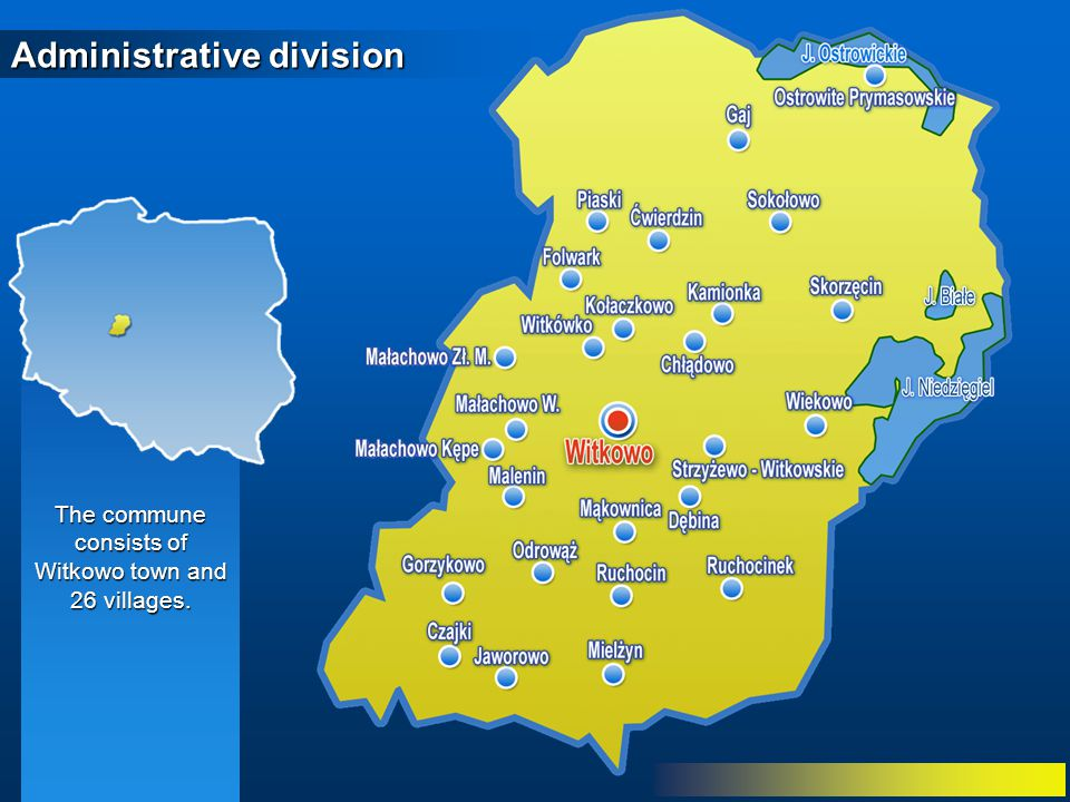 Administrative division The commune consists of Witkowo town and 26 villages.