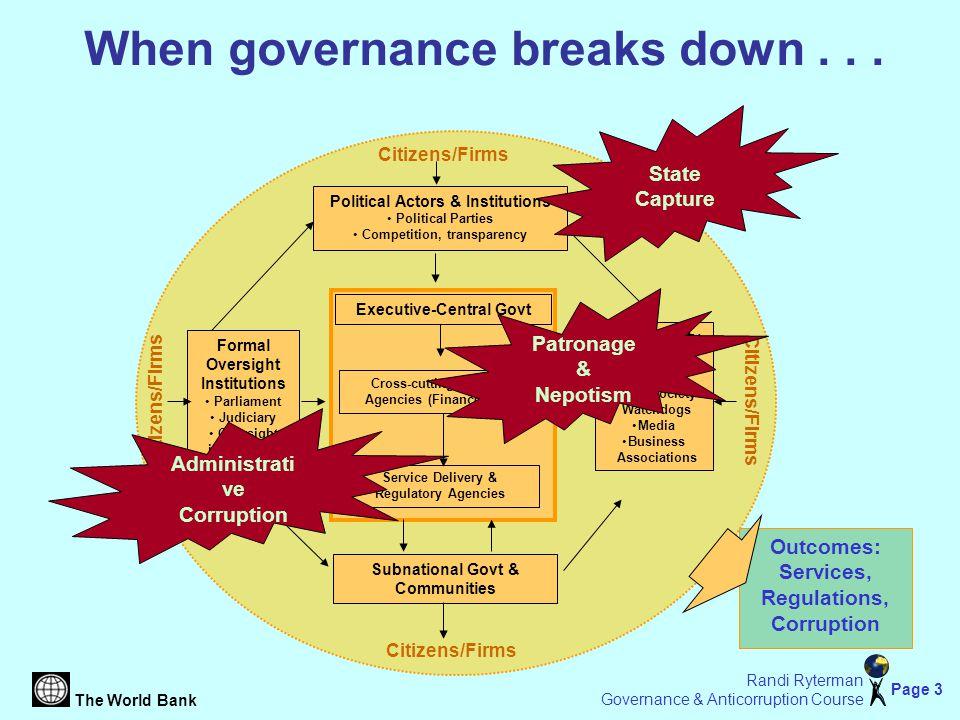 The World Bank Page 3 Randi Ryterman Governance & Anticorruption Course When governance breaks down...