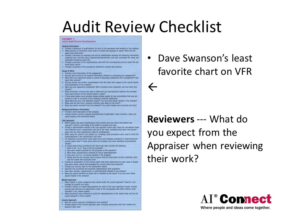 Audit Review Checklist Dave Swanson's least favorite chart on VFR  Reviewers --- What do you expect from the Appraiser when reviewing their work