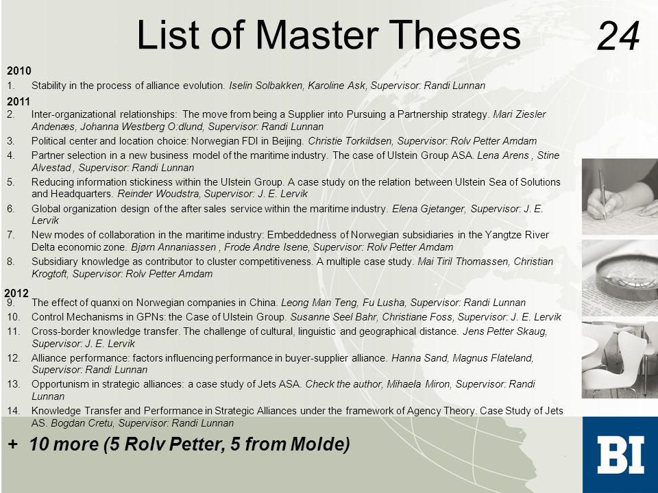 List of Master Theses 2010 1.Stability in the process of alliance evolution.