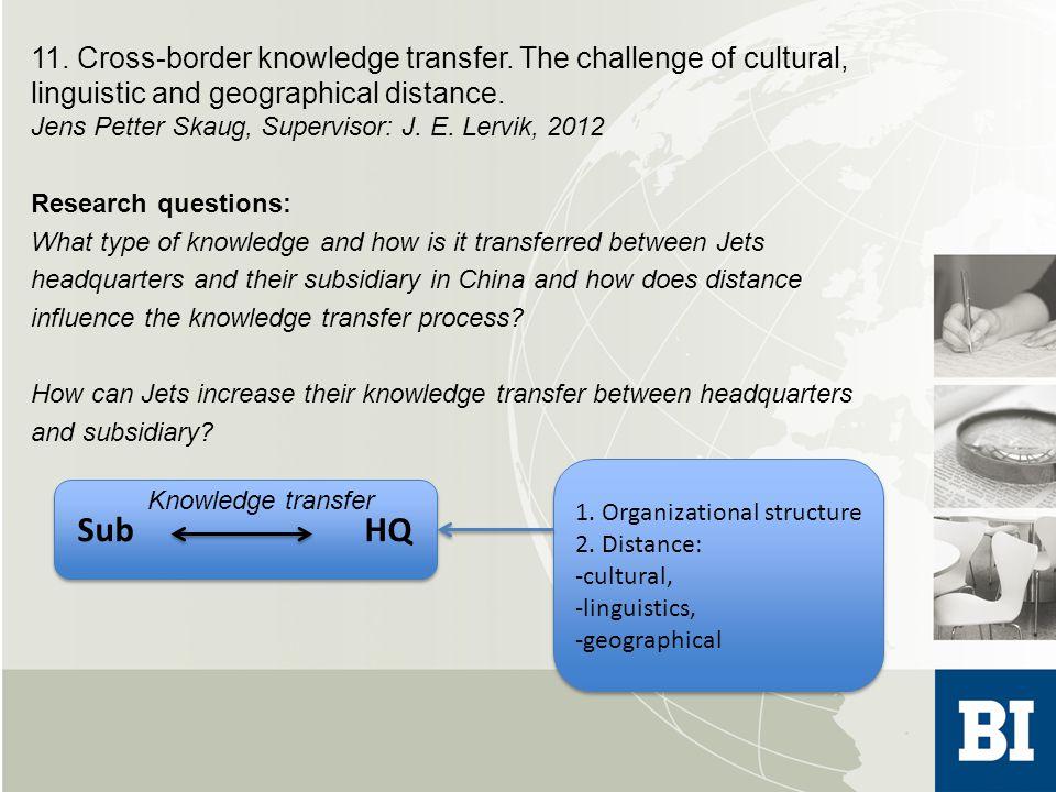 11. Cross-border knowledge transfer.