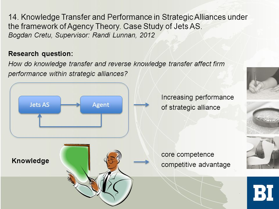 14.Knowledge Transfer and Performance in Strategic Alliances under the framework of Agency Theory.