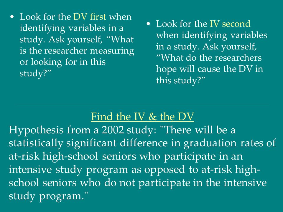 """Look for the DV first when identifying variables in a study. Ask yourself, """"What is the researcher measuring or looking for in this study?"""" Look for t"""