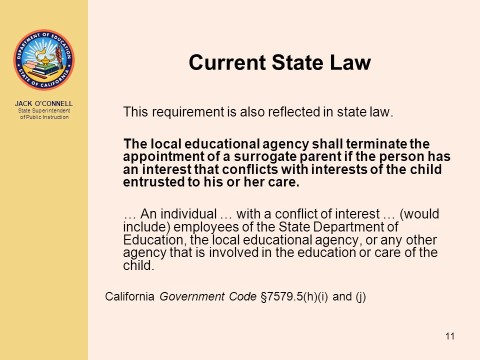 JACK O'CONNELL State Superintendent of Public Instruction 11 Current State Law This requirement is also reflected in state law.