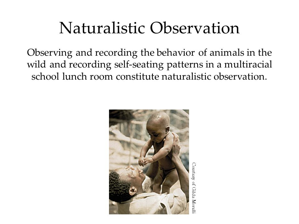 Naturalistic Observation Observing and recording the behavior of animals in the wild and recording self-seating patterns in a multiracial school lunch room constitute naturalistic observation.