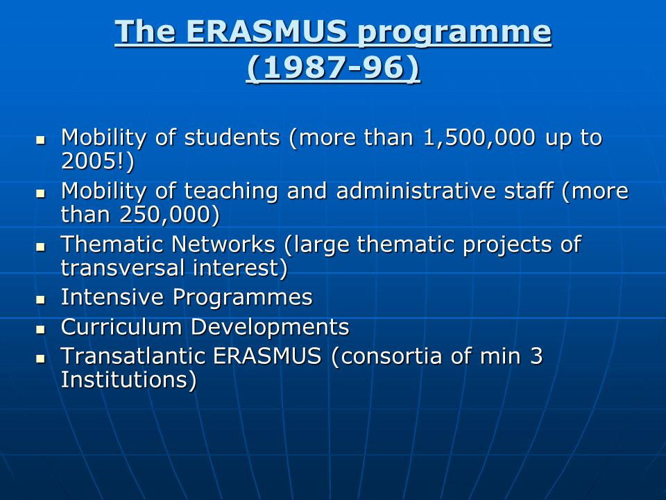 The ERASMUS programme (1987-96) Mobility of students (more than 1,500,000 up to 2005!) Mobility of students (more than 1,500,000 up to 2005!) Mobility of teaching and administrative staff (more than 250,000) Mobility of teaching and administrative staff (more than 250,000) Thematic Networks (large thematic projects of transversal interest) Thematic Networks (large thematic projects of transversal interest) Intensive Programmes Intensive Programmes Curriculum Developments Curriculum Developments Transatlantic ERASMUS (consortia of min 3 Institutions) Transatlantic ERASMUS (consortia of min 3 Institutions)