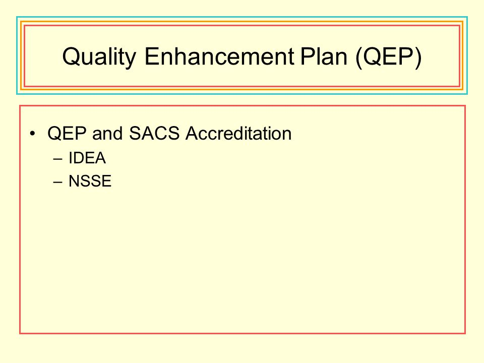 Quality Enhancement Plan (QEP) QEP and SACS Accreditation –IDEA –NSSE