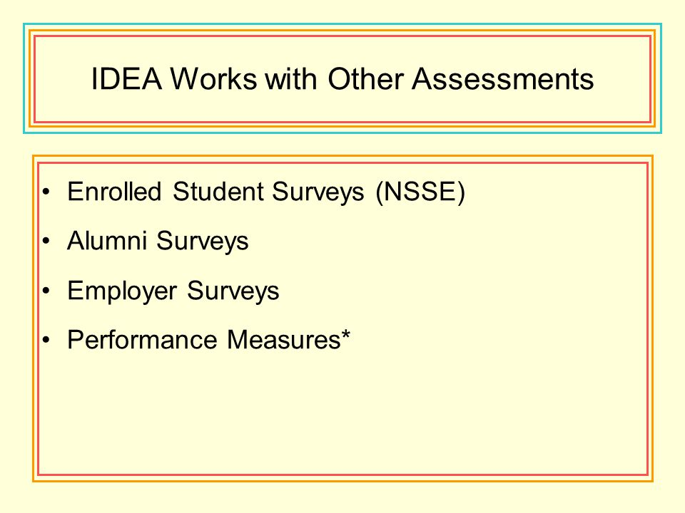 IDEA Works with Other Assessments Enrolled Student Surveys (NSSE) Alumni Surveys Employer Surveys Performance Measures*