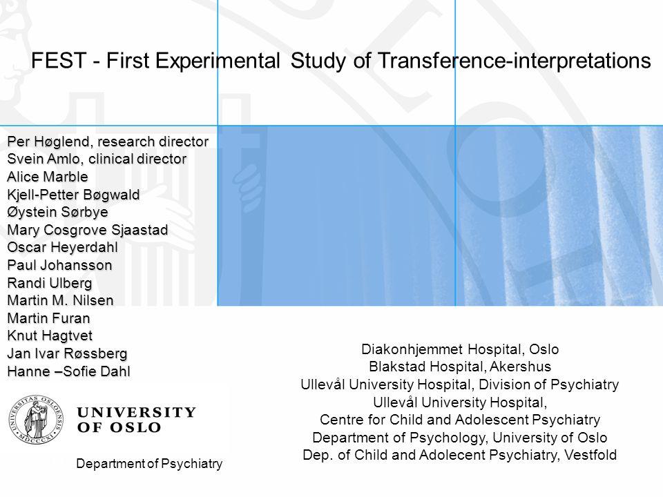 Gender differences in response to transference interpretations Høglend, P., Bøgwald, K.P., Amlo, S., Marble, A., Ulberg, R., Sjaastad, M.C., Sørbye, Ø., Heyerdahl, O.