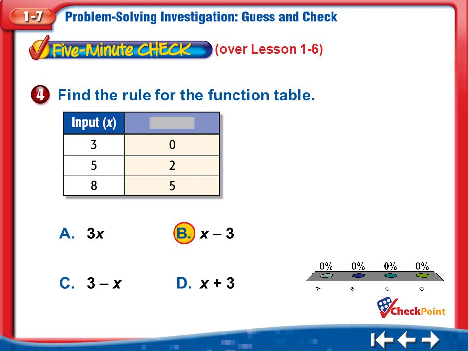 1.A 2.B 3.C 4.D Five Minute Check 4 A.3xB.x – 3 C.3 – xD.x + 3 Find the rule for the function table. (over Lesson 1-6)
