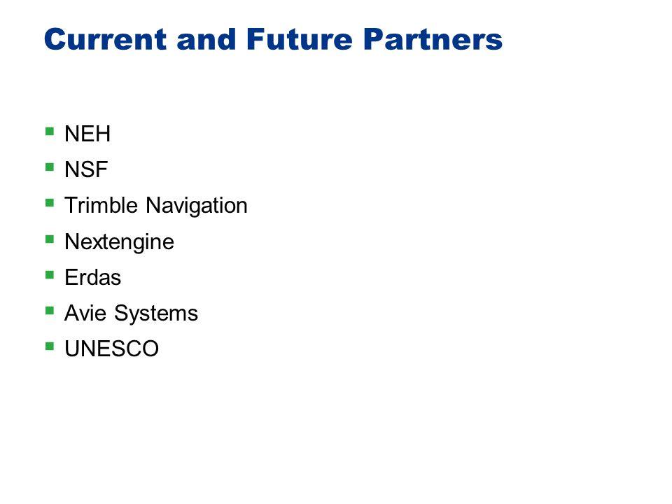 Current and Future Partners  NEH  NSF  Trimble Navigation  Nextengine  Erdas  Avie Systems  UNESCO 39
