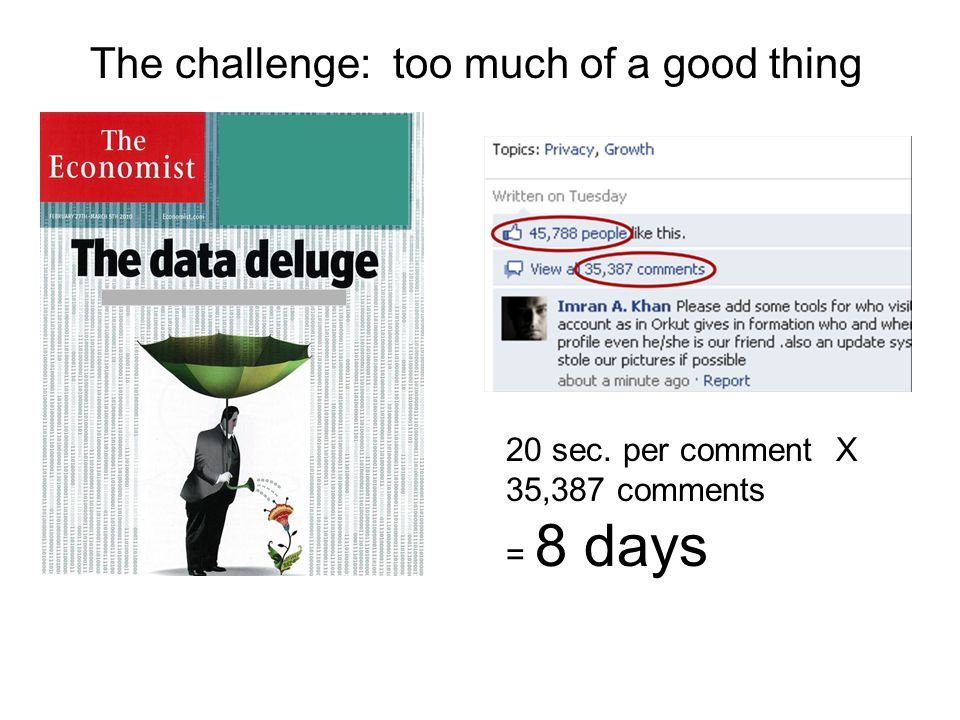 The challenge: too much of a good thing 20 sec. per comment X 35,387 comments = 8 days