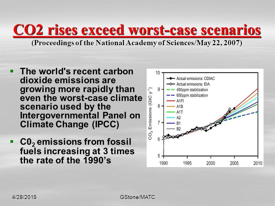 4/28/2015GStone/MATC CO2 rises exceed worst-case scenarios (Proceedings of the National Academy of Sciences/May 22, 2007)   The world's recent carbo
