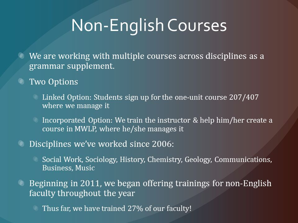 Non-English Courses We are working with multiple courses across disciplines as a grammar supplement.