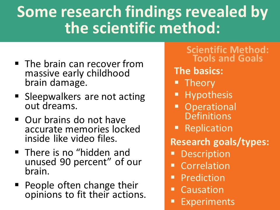 Scientific Method: Tools and Goals Some research findings revealed by the scientific method:  The brain can recover from massive early childhood brain damage.