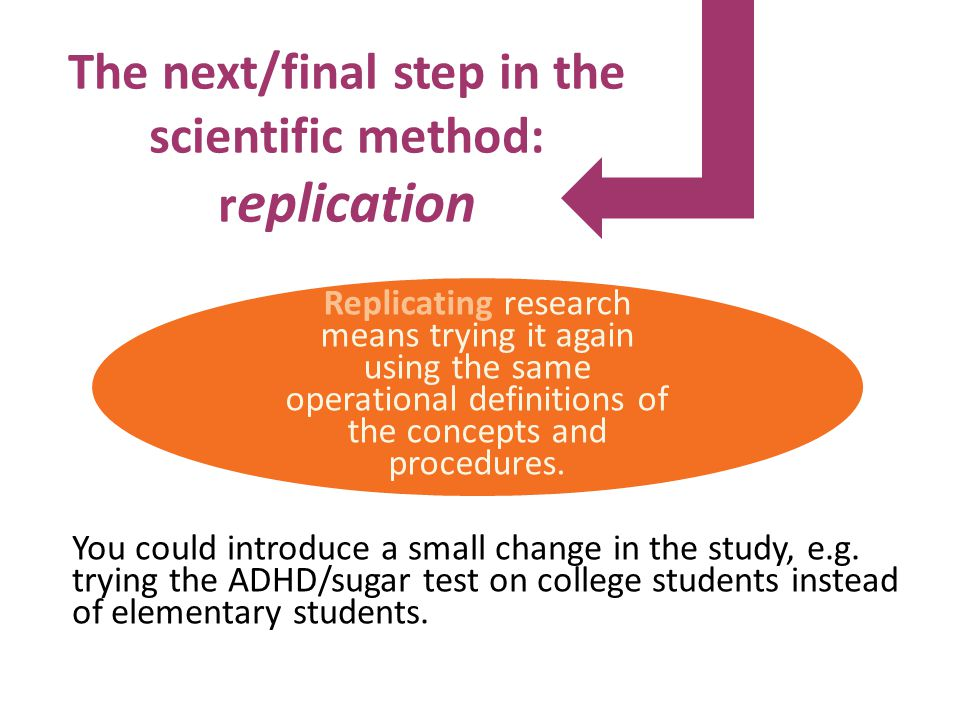 The next/final step in the scientific method: r eplication You could introduce a small change in the study, e.g.