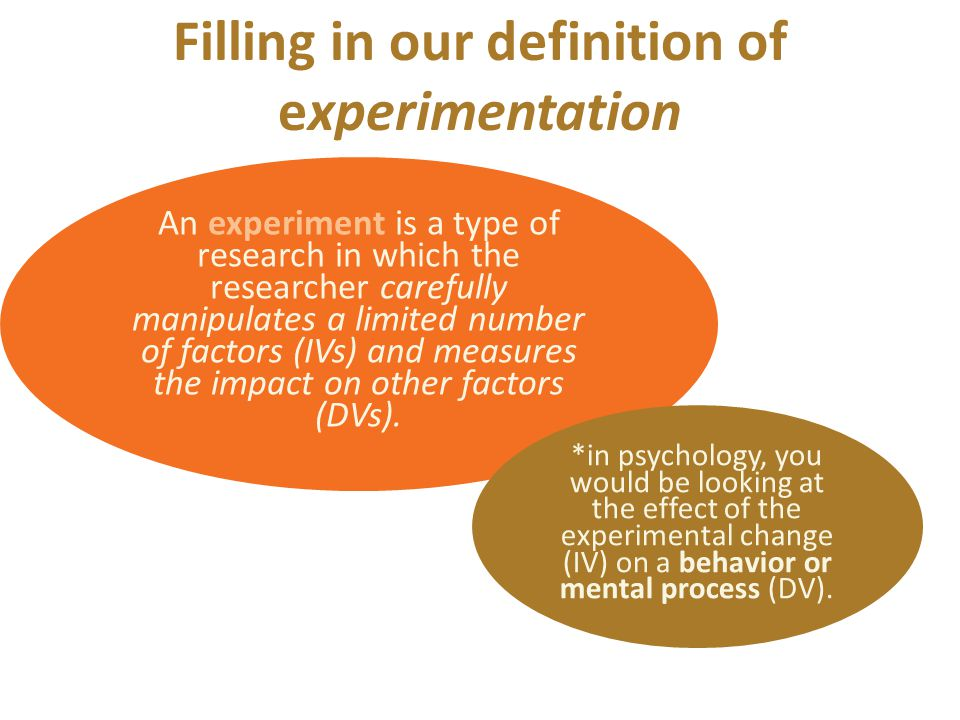 An experiment is a type of research in which the researcher carefully manipulates a limited number of factors (IVs) and measures the impact on other factors (DVs).