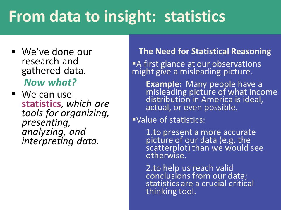 From data to insight: statistics  We've done our research and gathered data.