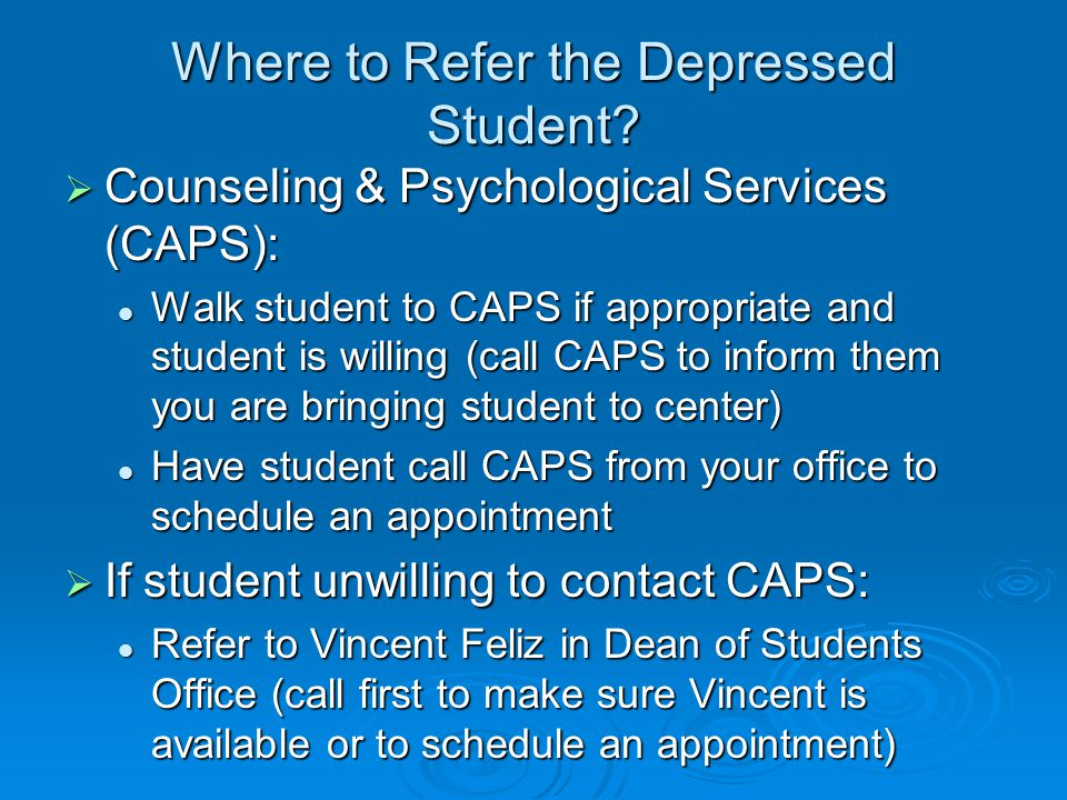 Where to Refer the Depressed Student.