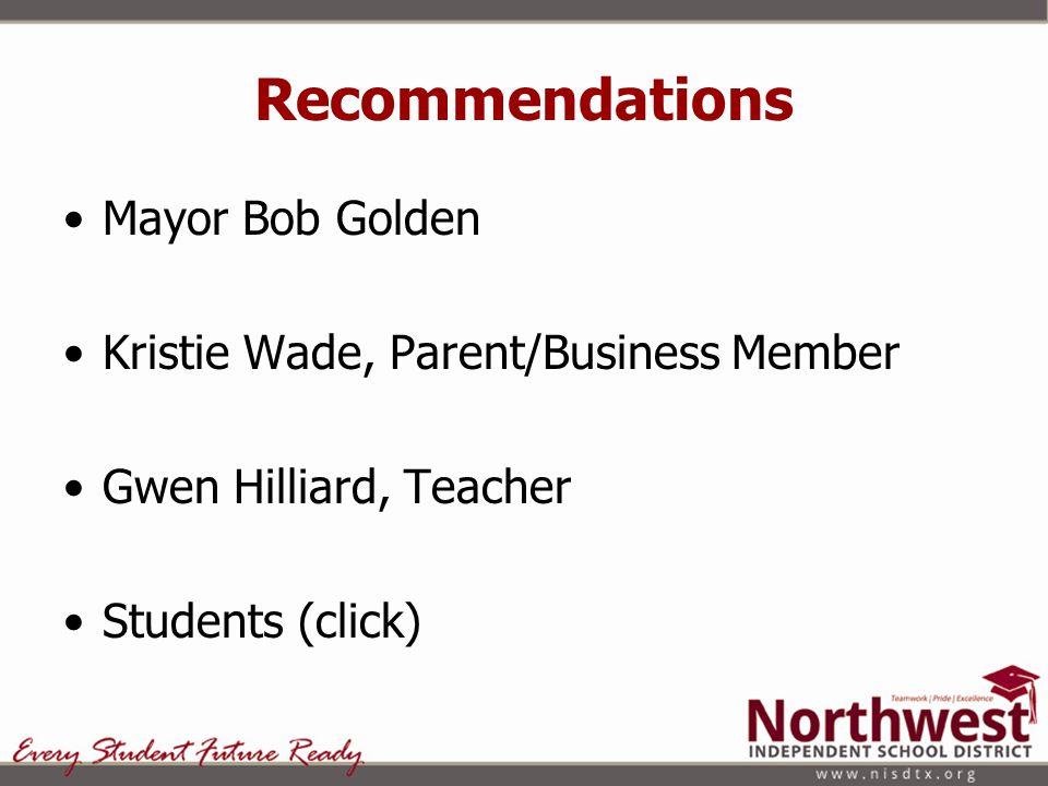 Recommendations Mayor Bob Golden Kristie Wade, Parent/Business Member Gwen Hilliard, Teacher Students (click)