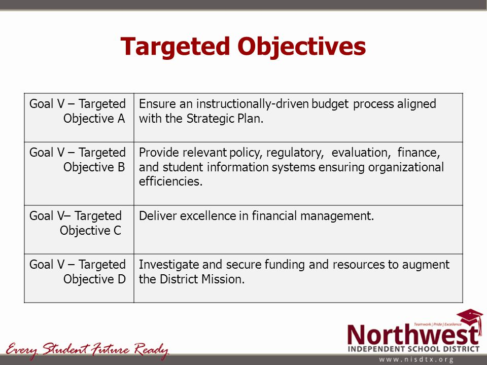 Targeted Objectives Goal V – Targeted Objective A Ensure an instructionally-driven budget process aligned with the Strategic Plan.