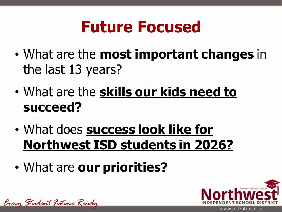 Future Focused What are the most important changes in the last 13 years.