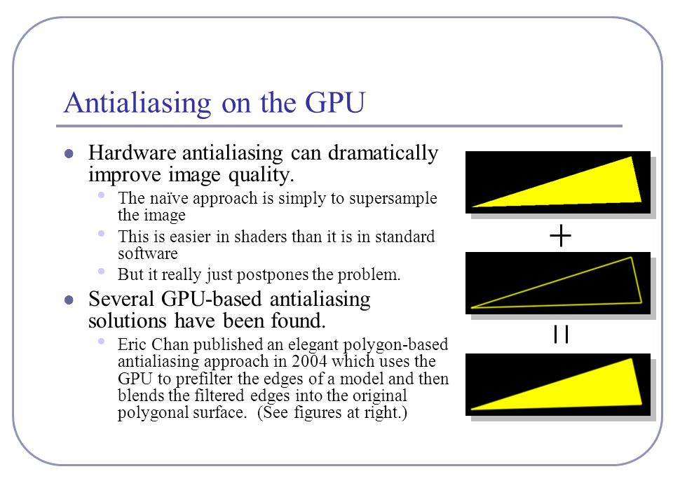 Antialiasing on the GPU Hardware antialiasing can dramatically improve image quality.