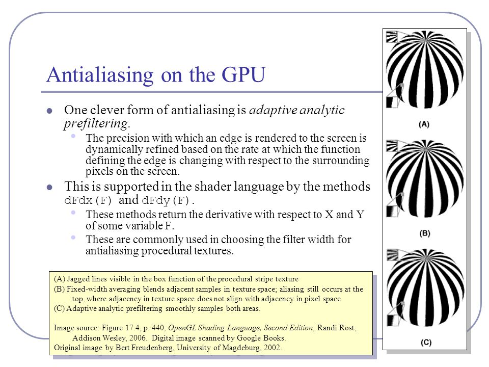 Antialiasing on the GPU One clever form of antialiasing is adaptive analytic prefiltering.