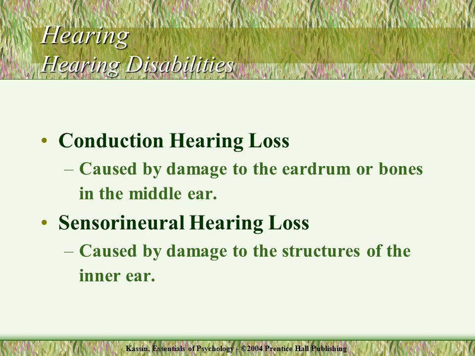 Conduction Hearing Loss –Caused by damage to the eardrum or bones in the middle ear.