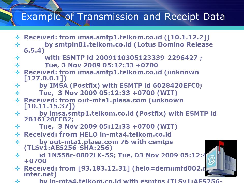 Example of Transmission and Receipt Data  Received: from imsa.smtp1.telkom.co.id ([10.1.12.2])  by smtpin01.telkom.co.id (Lotus Domino Release 6.5.4