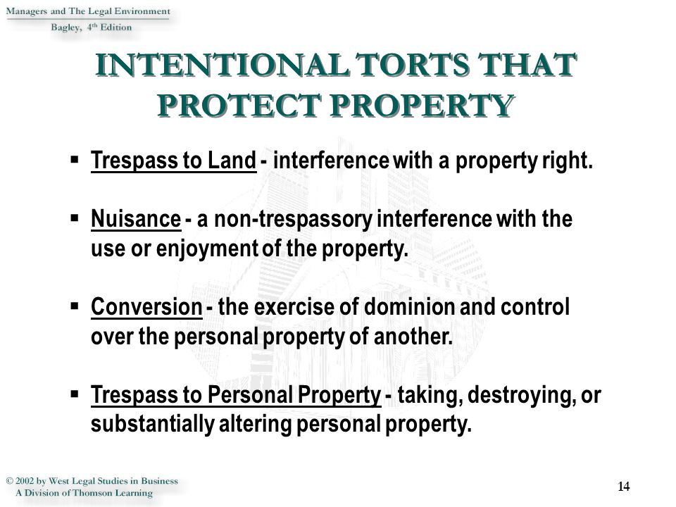 INTENTIONAL TORTS THAT PROTECT PROPERTY 14  Trespass to Land - interference with a property right.