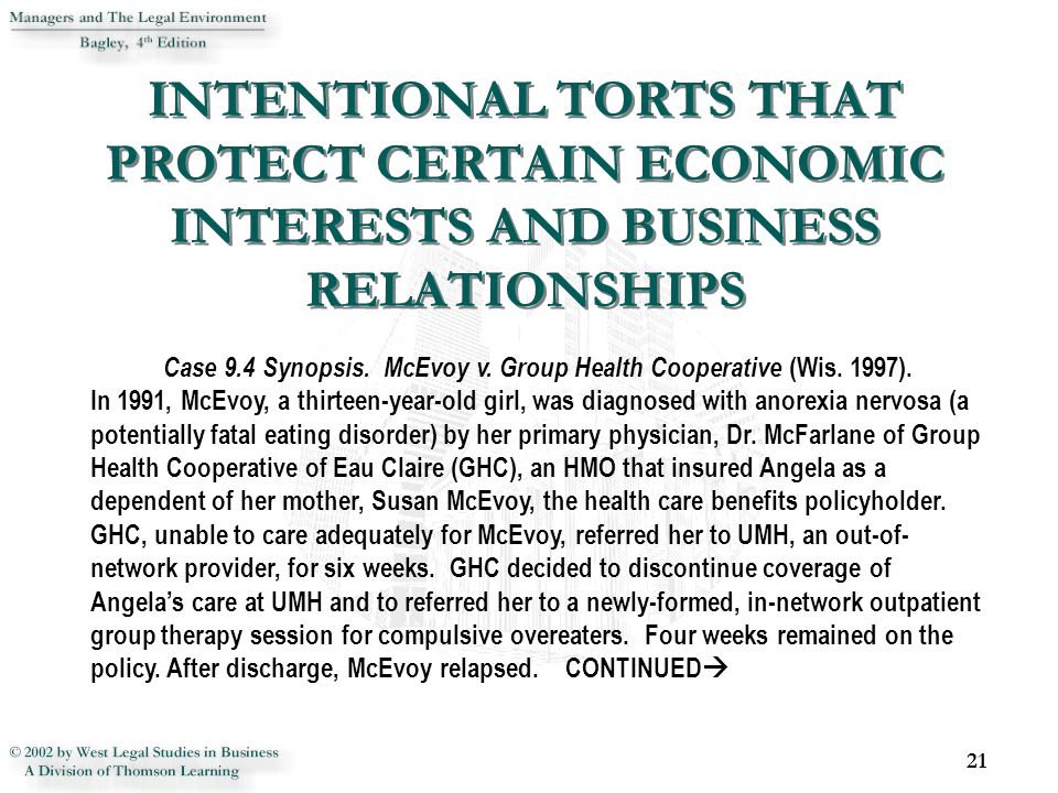 21 Case 9.4 Synopsis. McEvoy v. Group Health Cooperative (Wis.