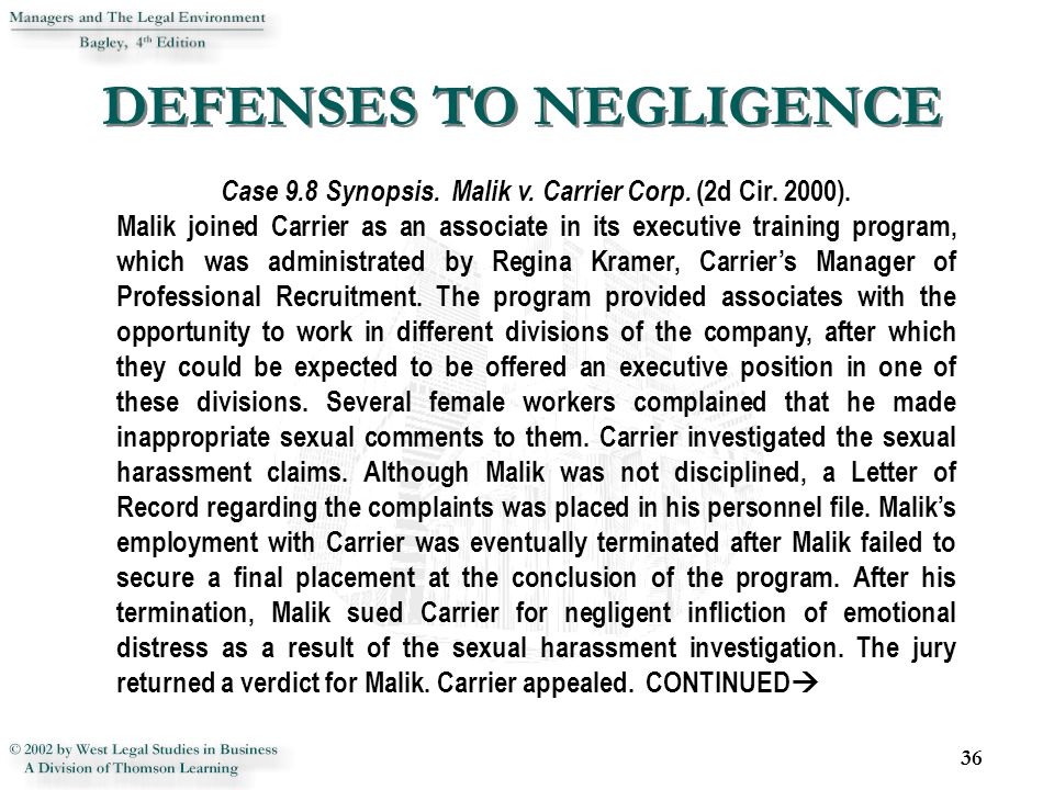 DEFENSES TO NEGLIGENCE 36 Case 9.8 Synopsis. Malik v.