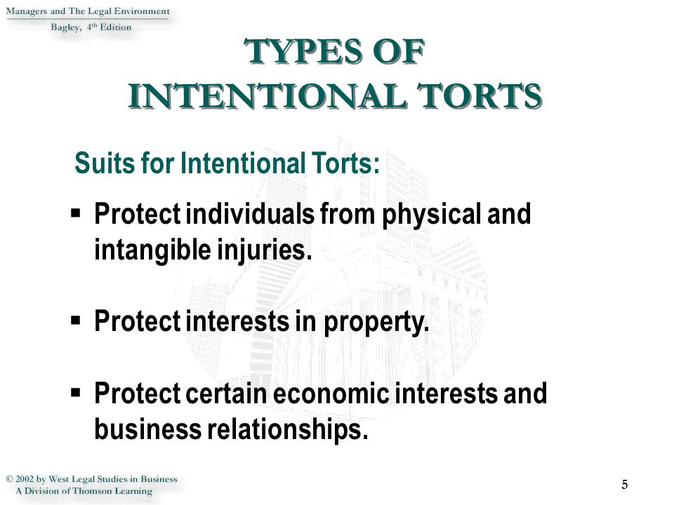 INTENTIONAL TORTS TO PROTECT PERSONS 6  Battery - the intentional, nonconsensual, harmful or offensive contact with the plaintiff's person.
