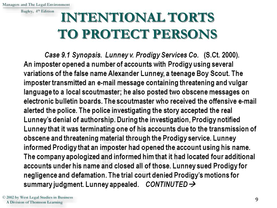 INTENTIONAL TORTS TO PROTECT PERSONS 9 Case 9.1 Synopsis.