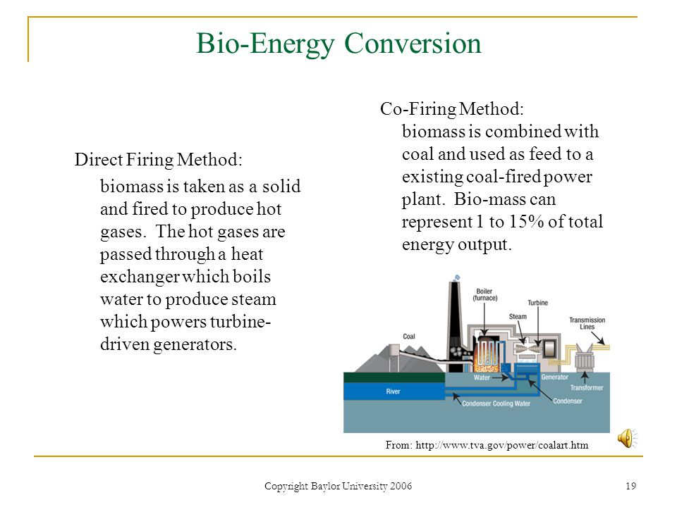 Copyright Baylor University 2006 19 Bio-Energy Conversion Direct Firing Method: biomass is taken as a solid and fired to produce hot gases.