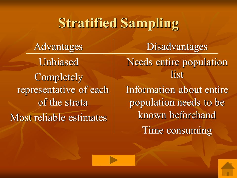 Stratified Sampling AdvantagesUnbiased Completely representative of each of the strata Most reliable estimates Disadvantages Needs entire population list Information about entire population needs to be known beforehand Time consuming