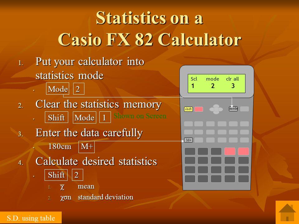 1. Put your calculator into statistics mode Mode 2 Mode 2 2.