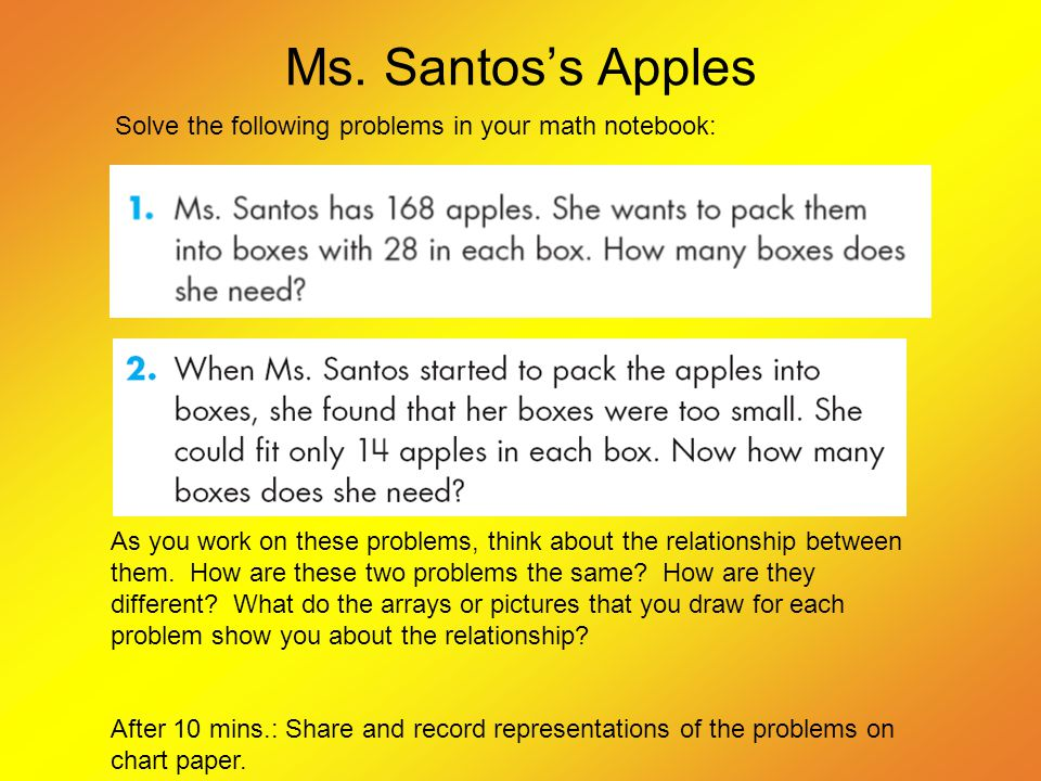 Ms. Santos's Apples Solve the following problems in your math notebook: As you work on these problems, think about the relationship between them. How