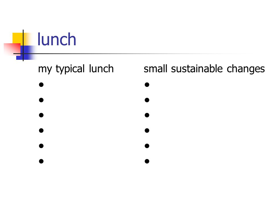 lunch my typical lunch ● small sustainable changes ●