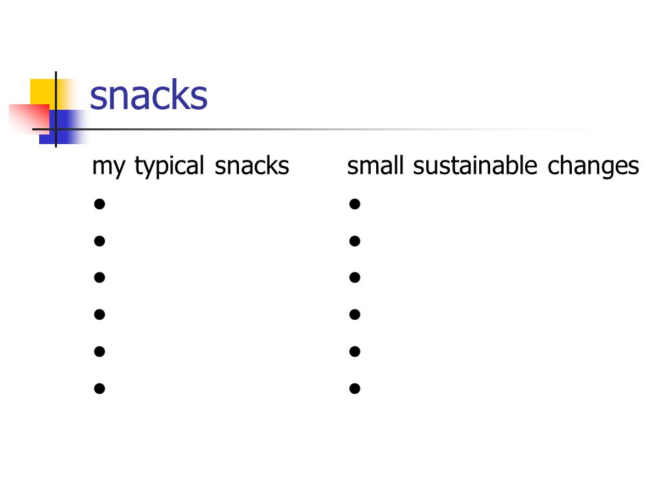 snacks my typical snacks ● small sustainable changes ●